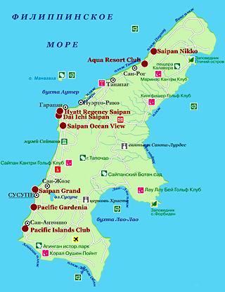 Карта о.Сайпан, туры на Сайпан