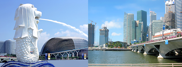 Мерлион и вид на Сингапур. Туры в Сингапур